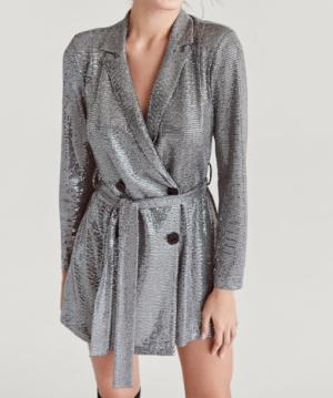 Robe-blazer argentée pailletée STARDIVARIUS