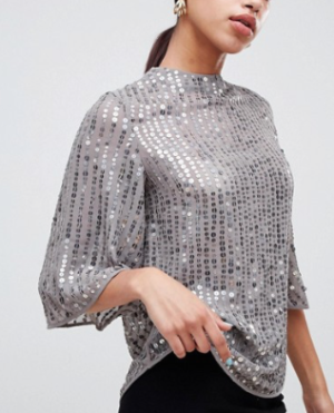 River Island – Blouse à sequins – Gris