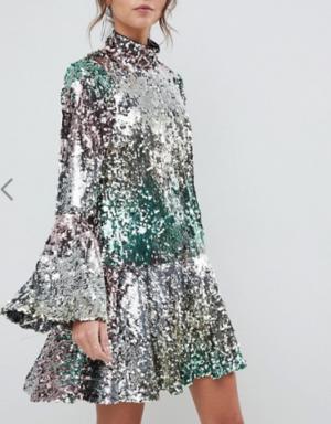 ASOS DESIGN – Robe courte de qualité supérieure à sequins arc-en-ciel