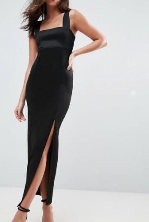 ASOS DESIGN – Robe longue en néoprène avec encolure carrée et fente sur la cuisse