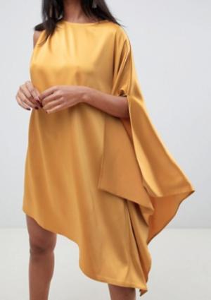 ASOS DESIGN – Robe mi-longue asymétrique et drapée en satin