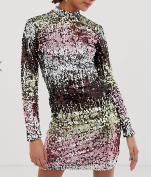 New Look – Robe moulante à manches longues et sequins multicolores