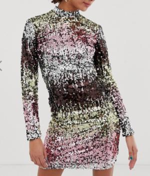 New Look – Robe moulante à manches longues et sequins multicolores