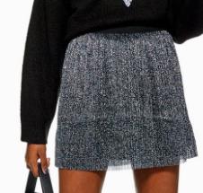 Mini jupe plissée métallisée TOP SHOP