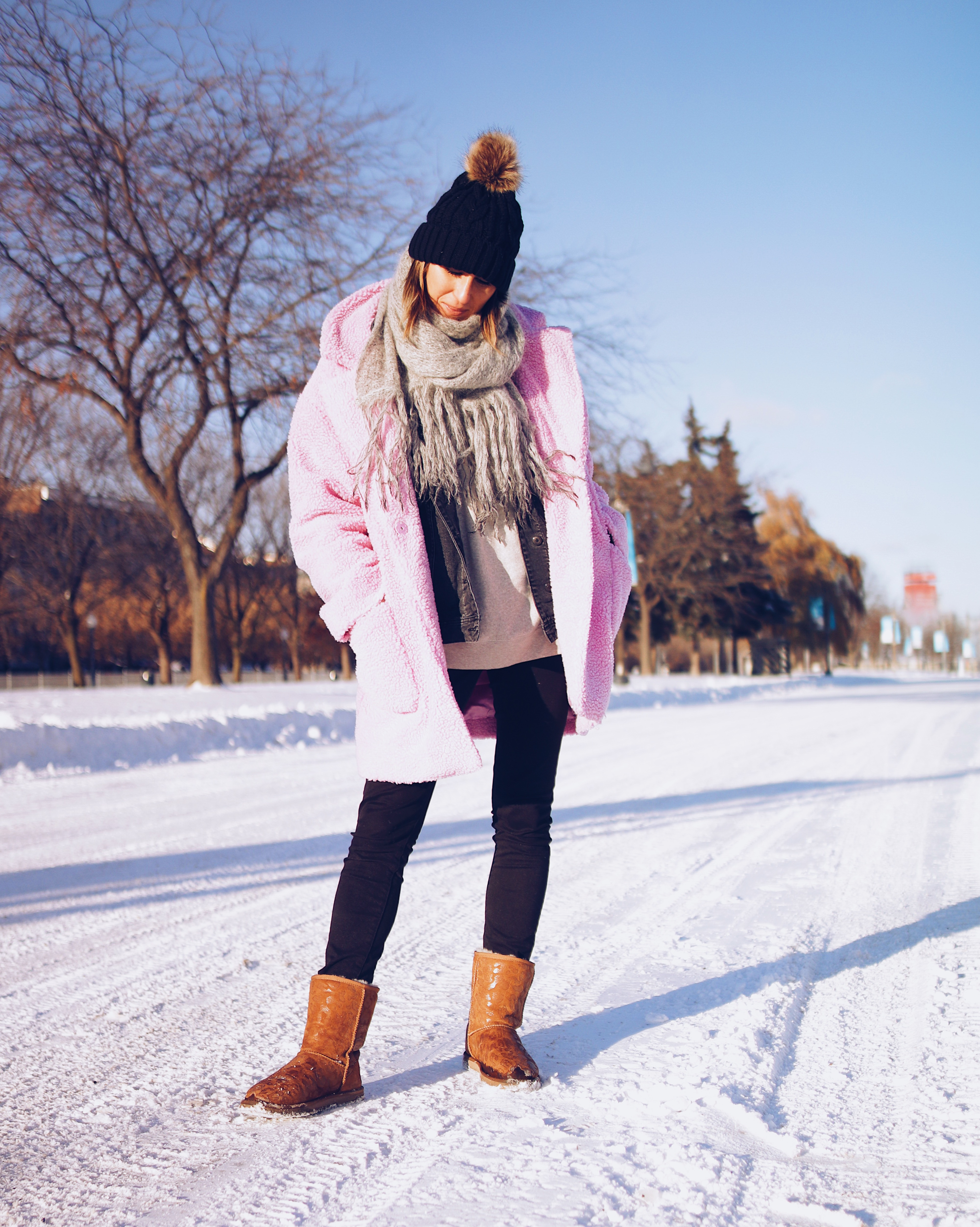 manteau rose, winter outfit, pink coat