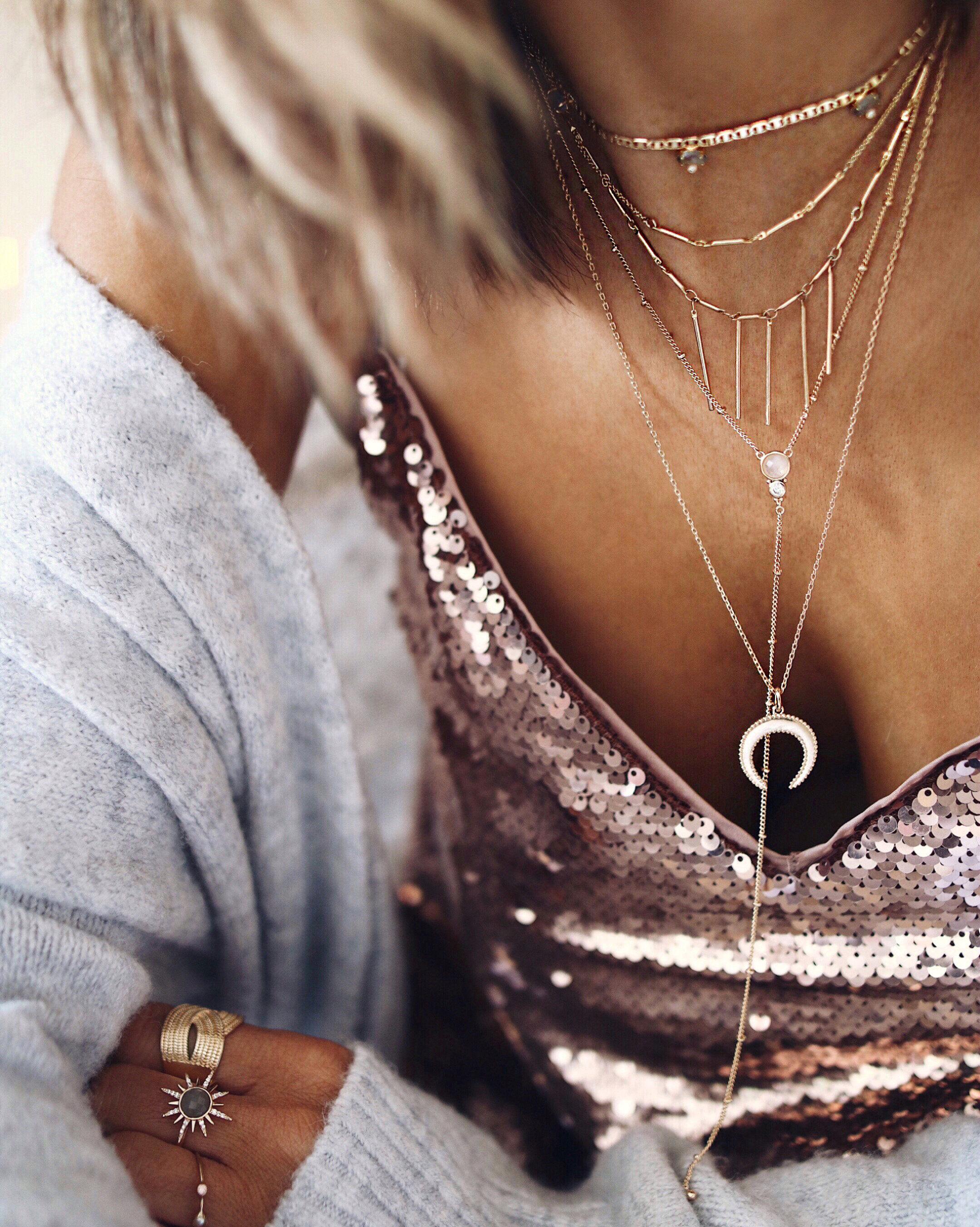NECKLACES LAYERING, gold necklaces, sequins top