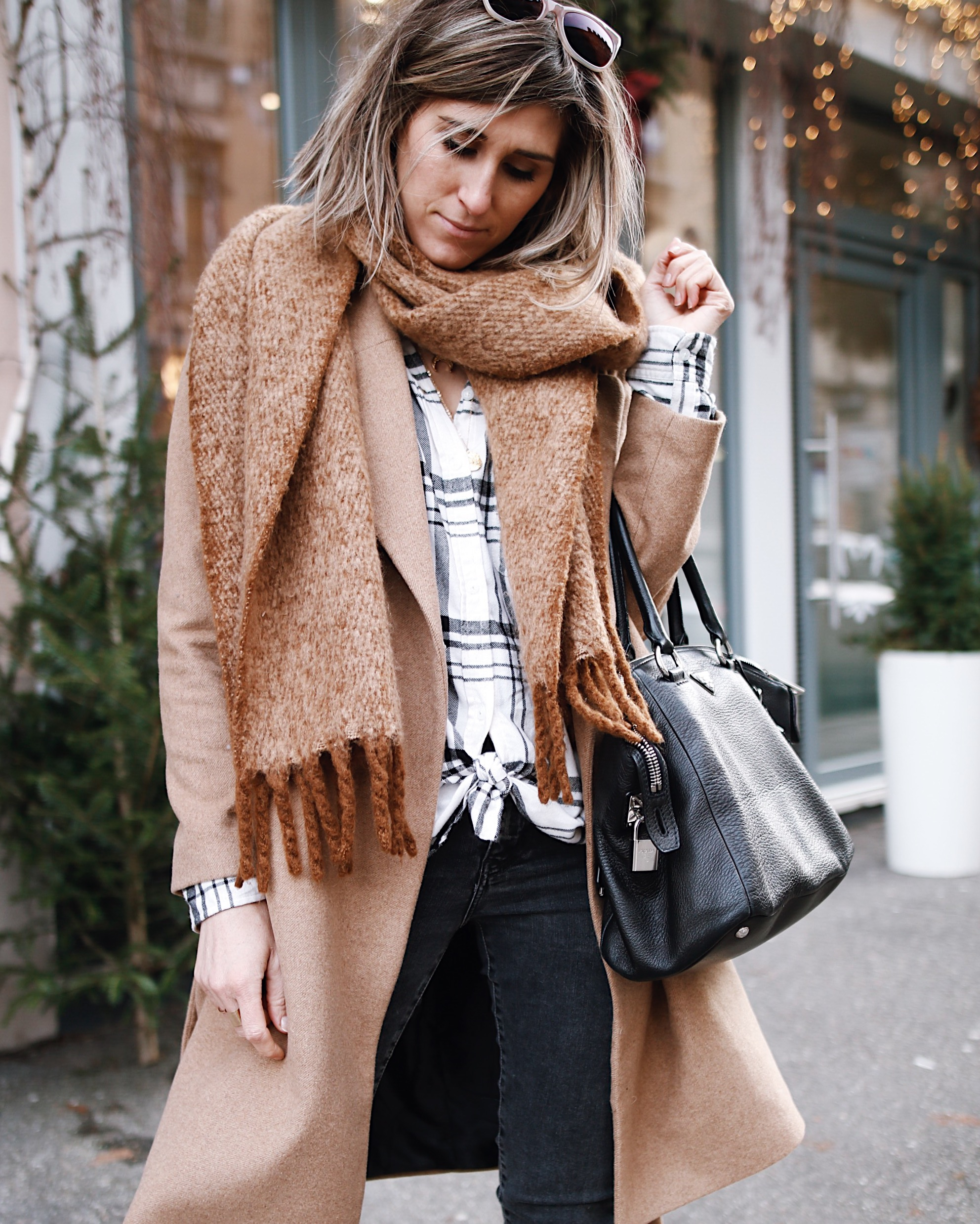 camel coat and winter style