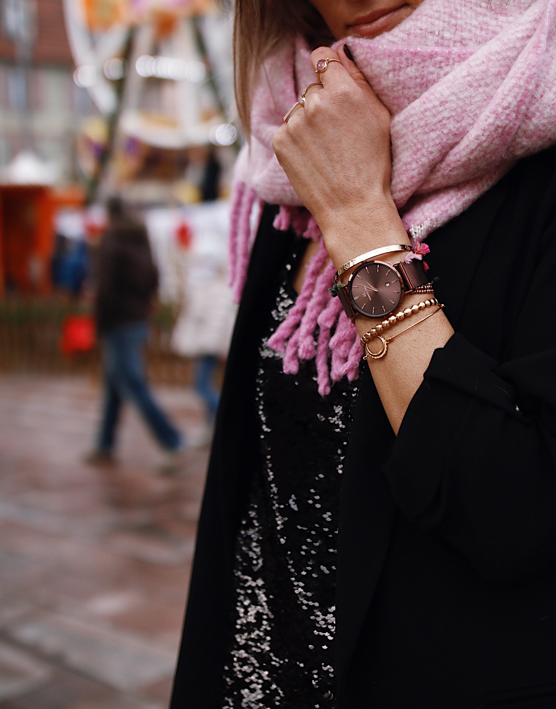 oversize pink scarf