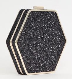 Warehouse – Sac bandoulière hexagonal pailleté – Noir