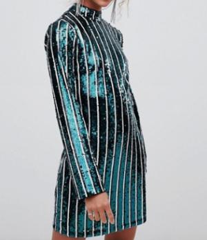 New Look – Robe courte rayée en sequins avec encolure montante