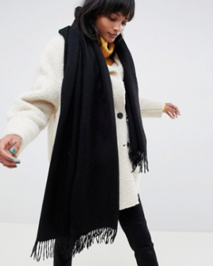 ASOS DESIGN ASOS DESIGN – Écharpe oversize en laine d'agneau à franges