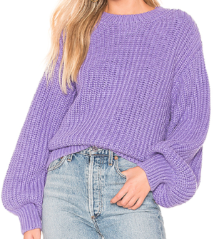 BARDOT BALLOON SLEEVE SWEATER IN LIGHT PURPLE