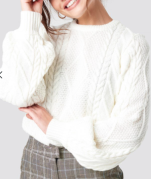 Weave Detailed Sweater White na-kd