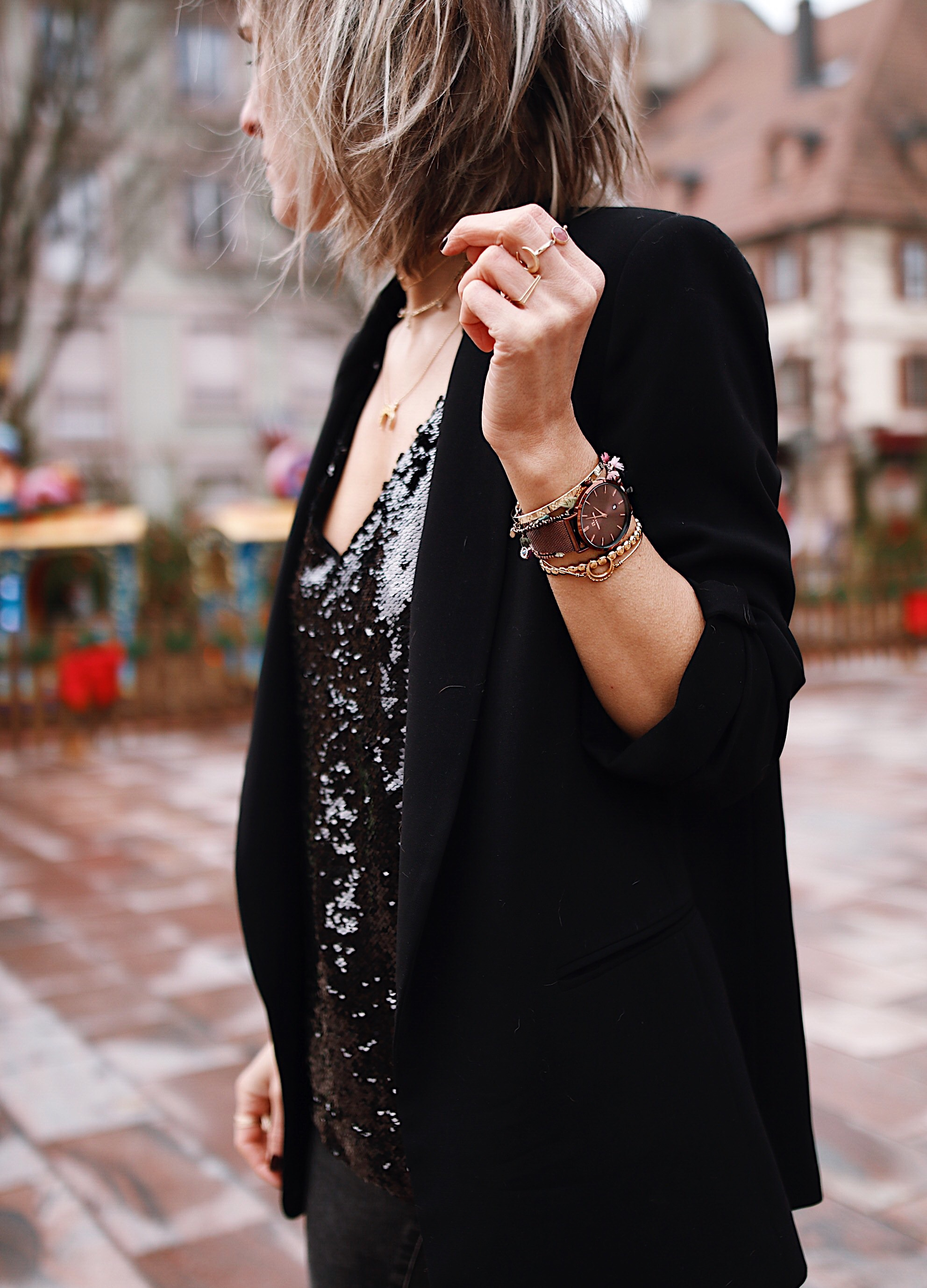 black top with sequins