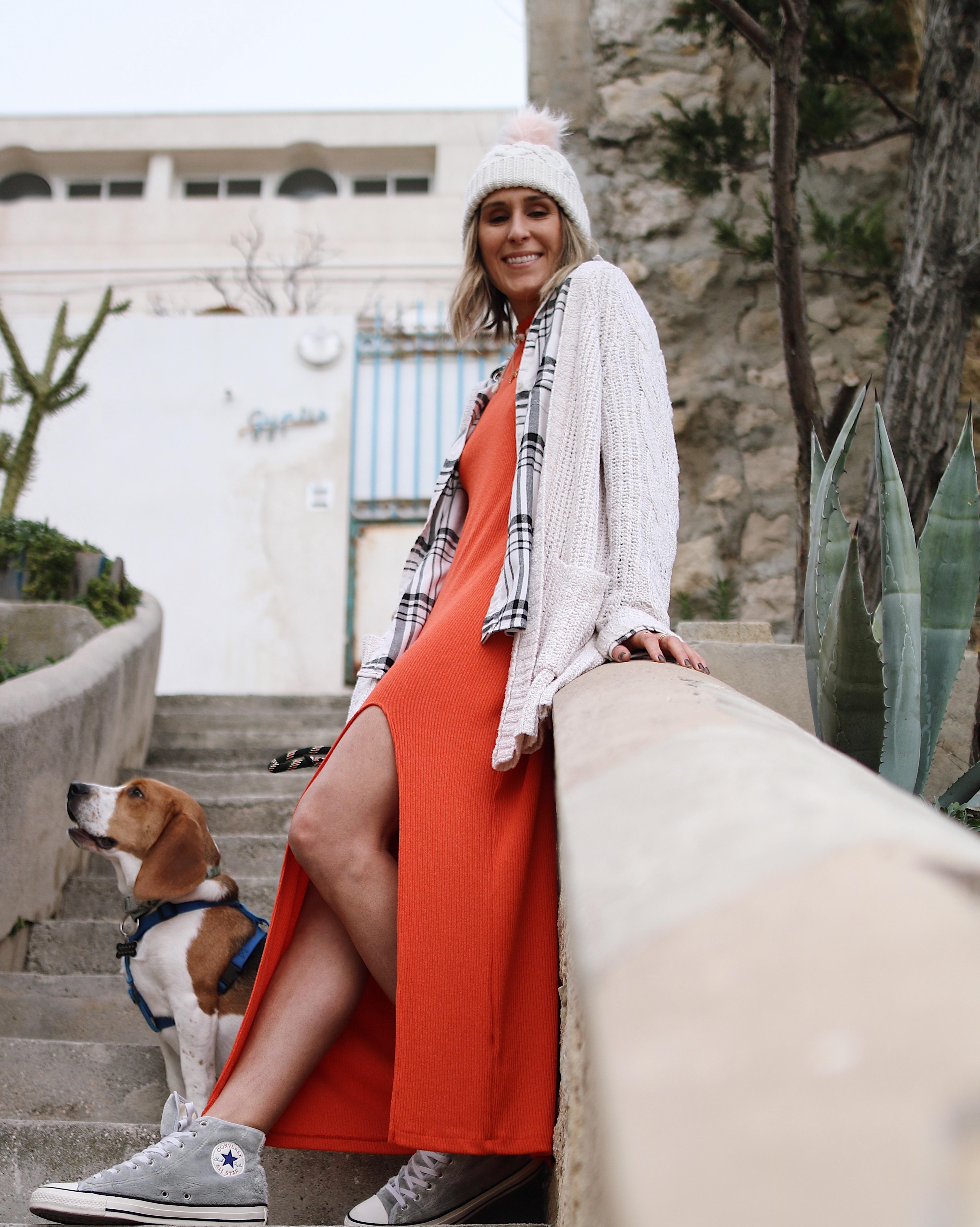 MAXI CORAIL - Chon & CHON - www.chonandchon.com - maxi dress, robe longue fente zara ornage corail
