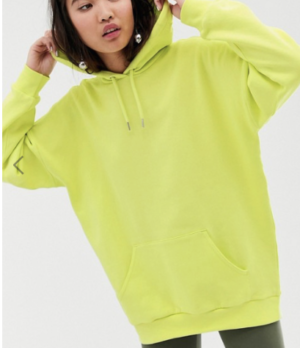 Monki – Hoodie oversize – Vert citron