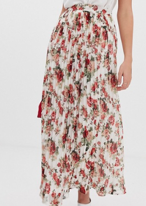 Vila – Jupe longue plissée à fleurs