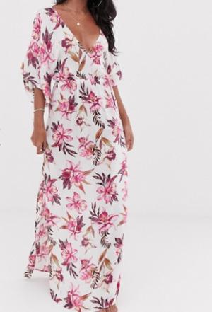 ASOS DESIGN – Robe longue à fleurs effet peint et manches kimono