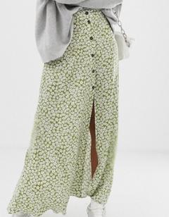 ASOS DESIGN – Jupe longue boutonnée sur le devant avec imprimé à fleurs vert