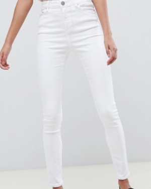 ASOS DESIGN – Ridley – Jean skinny taille haute – Blanc nuage
