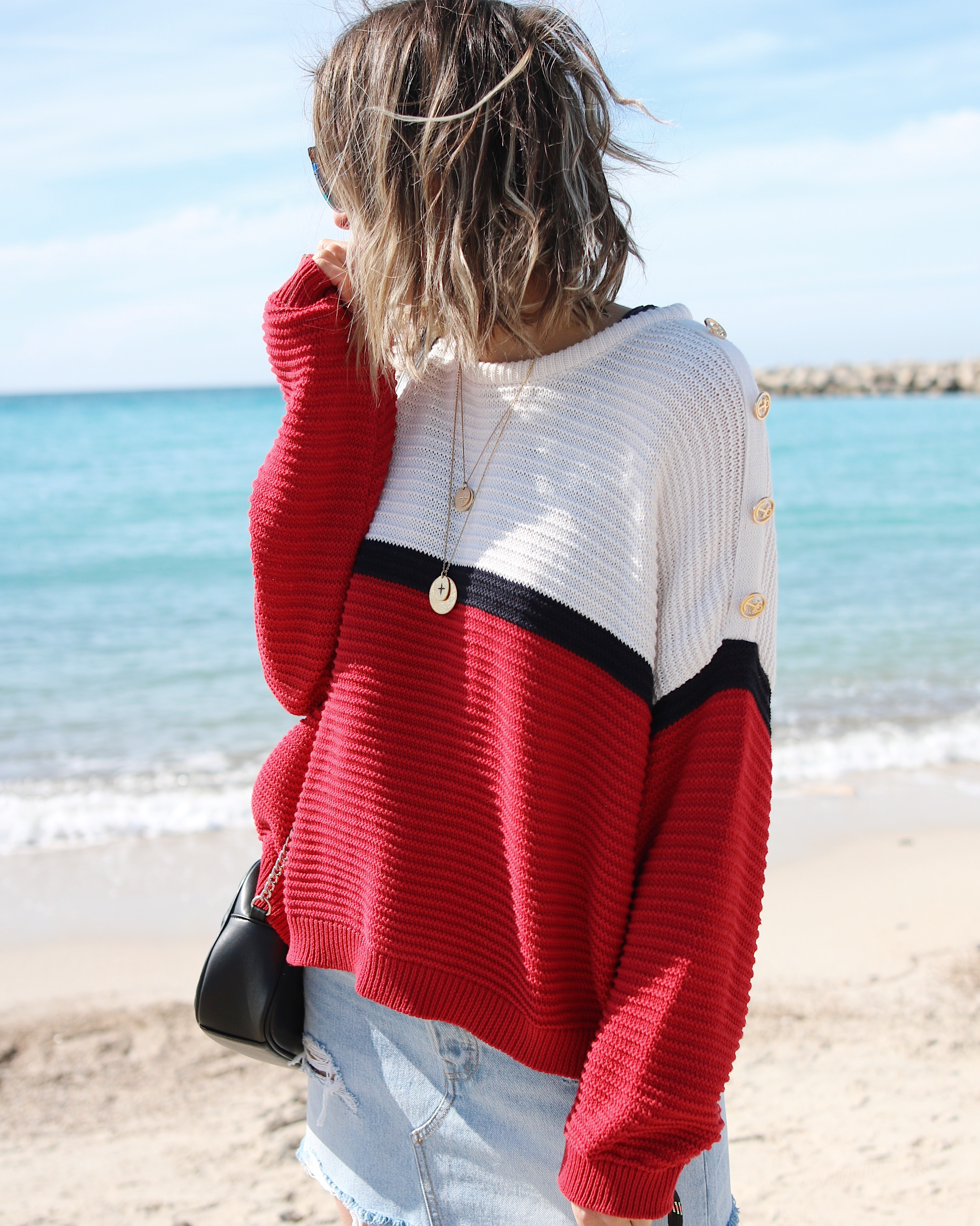 SAILOR GIRL - www.chonandchon.com - sailor weater, knit lover, knit style, denim skirt