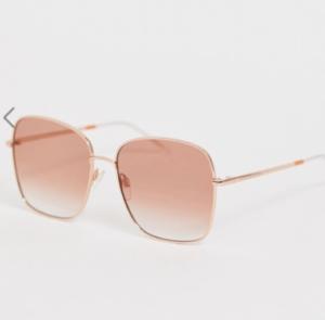 Tommy Hilfiger – Lunettes de soleil carrées oversize – Orange