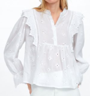 EMBROIDERED FRILLED TOP white zara