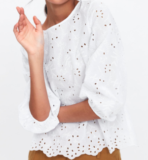 TOP WITH CUTWORK EMBROIDERY zara