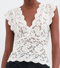 LACE TOP WITH ELASTIC DETAILING zara