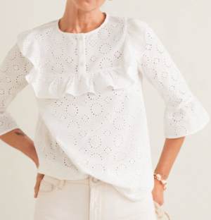 Blouse broderie florale blanche mango