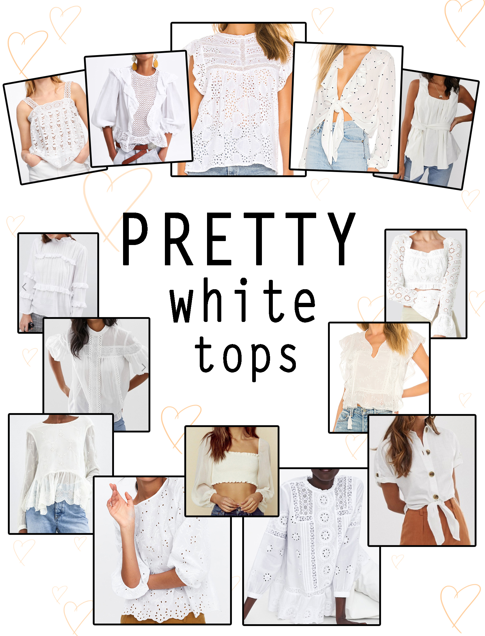 PRETTY WHITE TOPS SELECTION SHOPPING, TOPS BLANC
