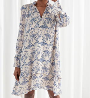 Ruffle Collar Cloud Print Mini Dress AND OTHER STORIES