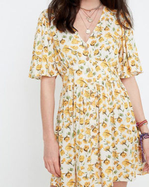 UO Yellow Floral Peony Mini Dress