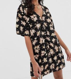 Motel – Robe courte à fleurs boutonnée devant