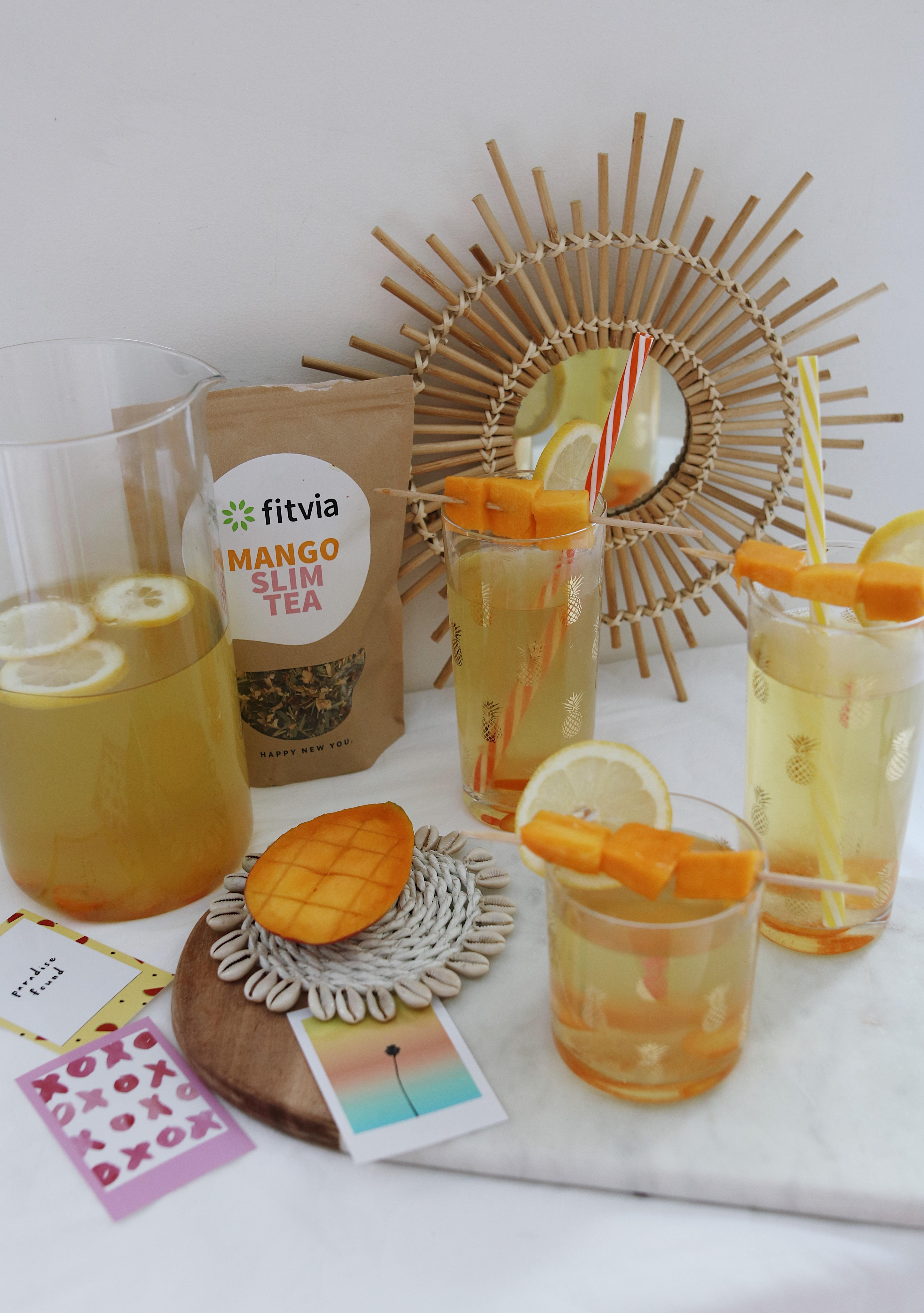 @chon.and.chon MANGO DETOX ICED TEA - thé fitvia- healthy iced tea www.chonandhon.com - thé glacé mangue detox