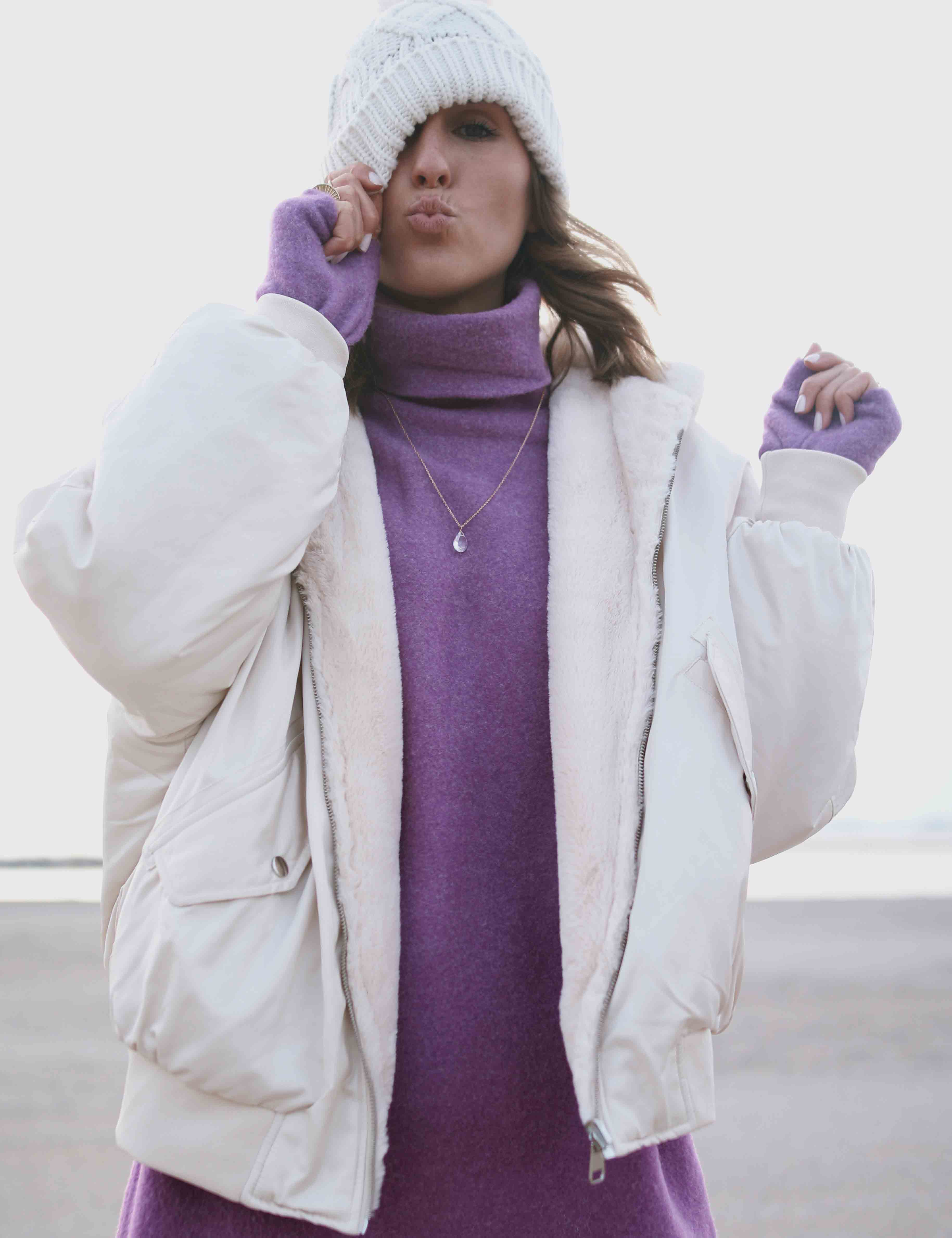 @chon.and.chon www.chonandchon.com robe zara, blouson bombers beige, casual style, robe pull violet