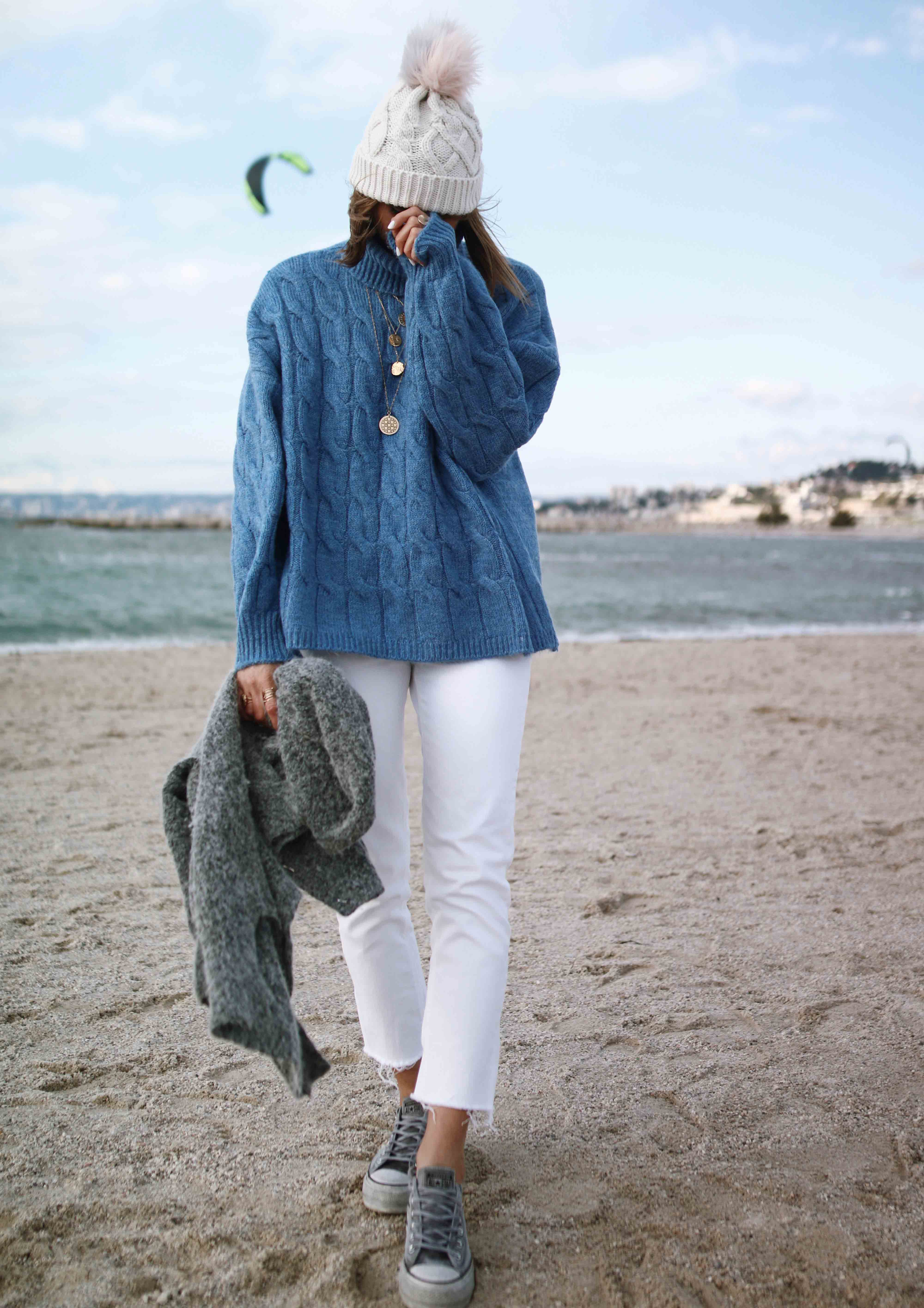 @chon.and.chon www.chonandchon.com blue knit sweater, pull bleu tricoté torsades