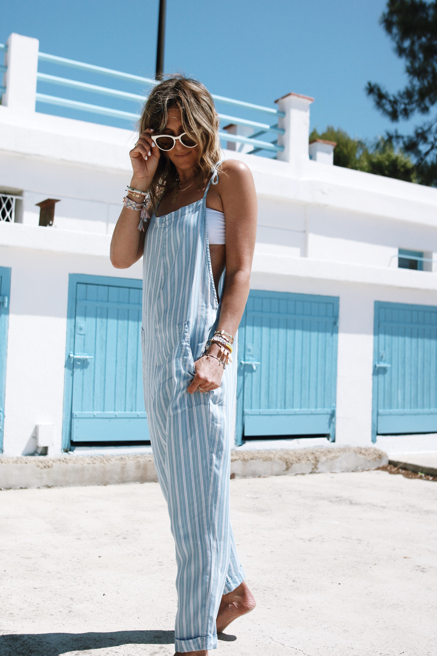 summer outfit, combinaison bleu , fashion blogger