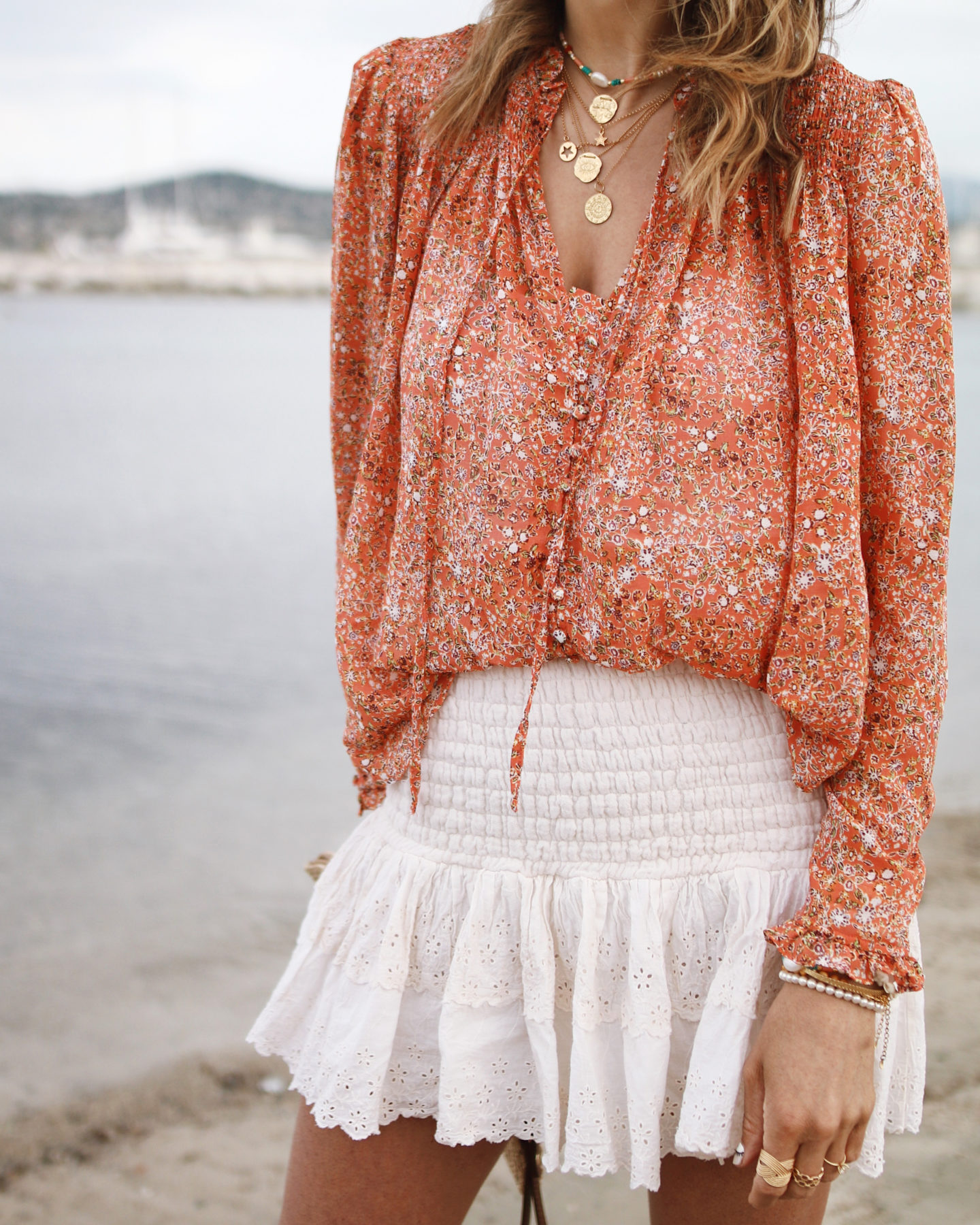 Coral blouse with mini skirt Blouse free people