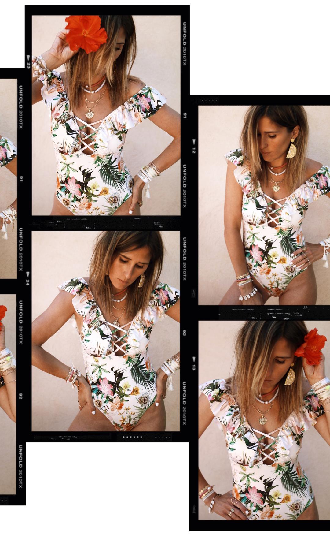 Maillot de bain une pièce fleuri H&M