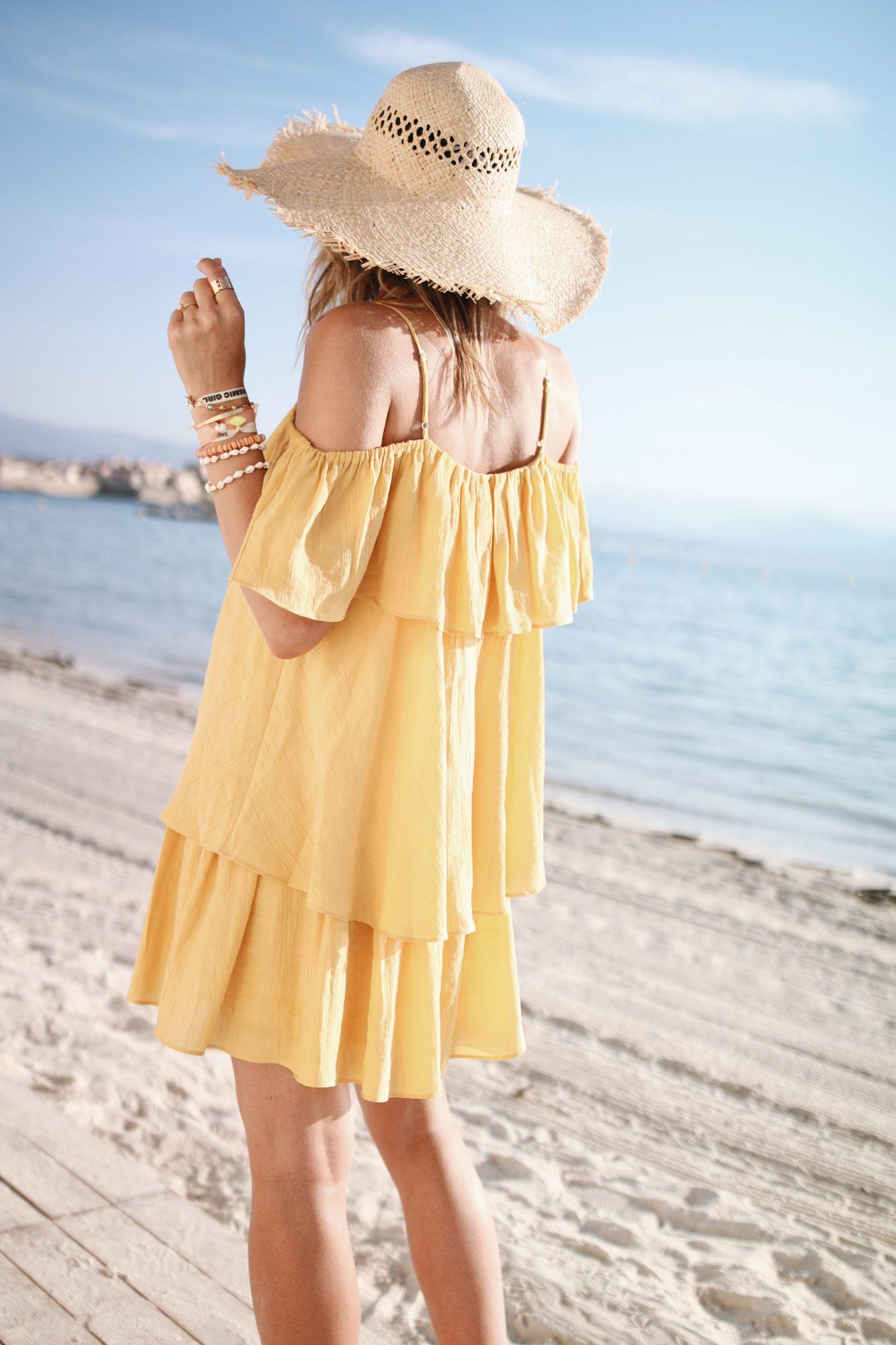 robe courte à volants jaune h&m