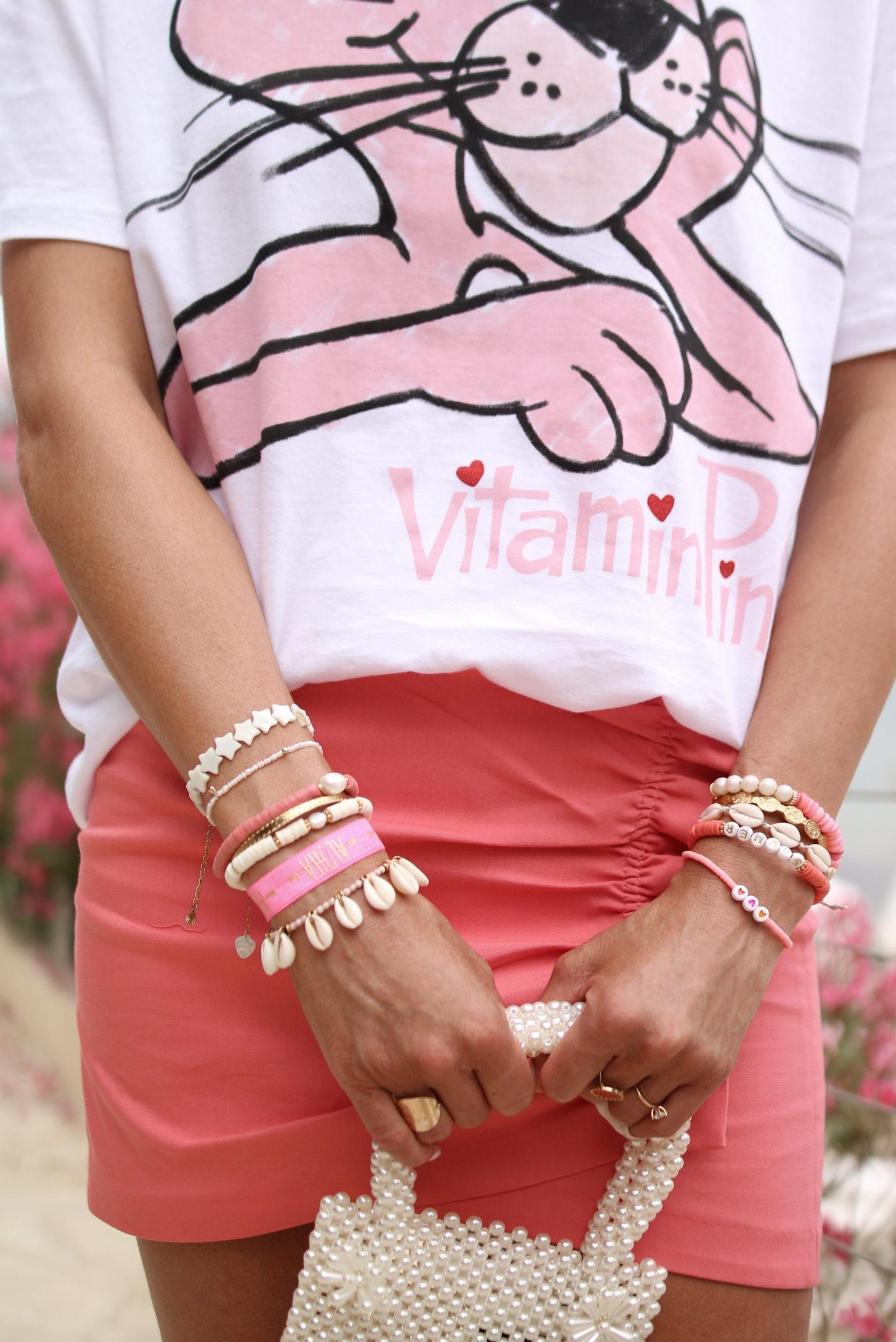 t shirt panthere rose et mini jupe rose @chon.and.chon