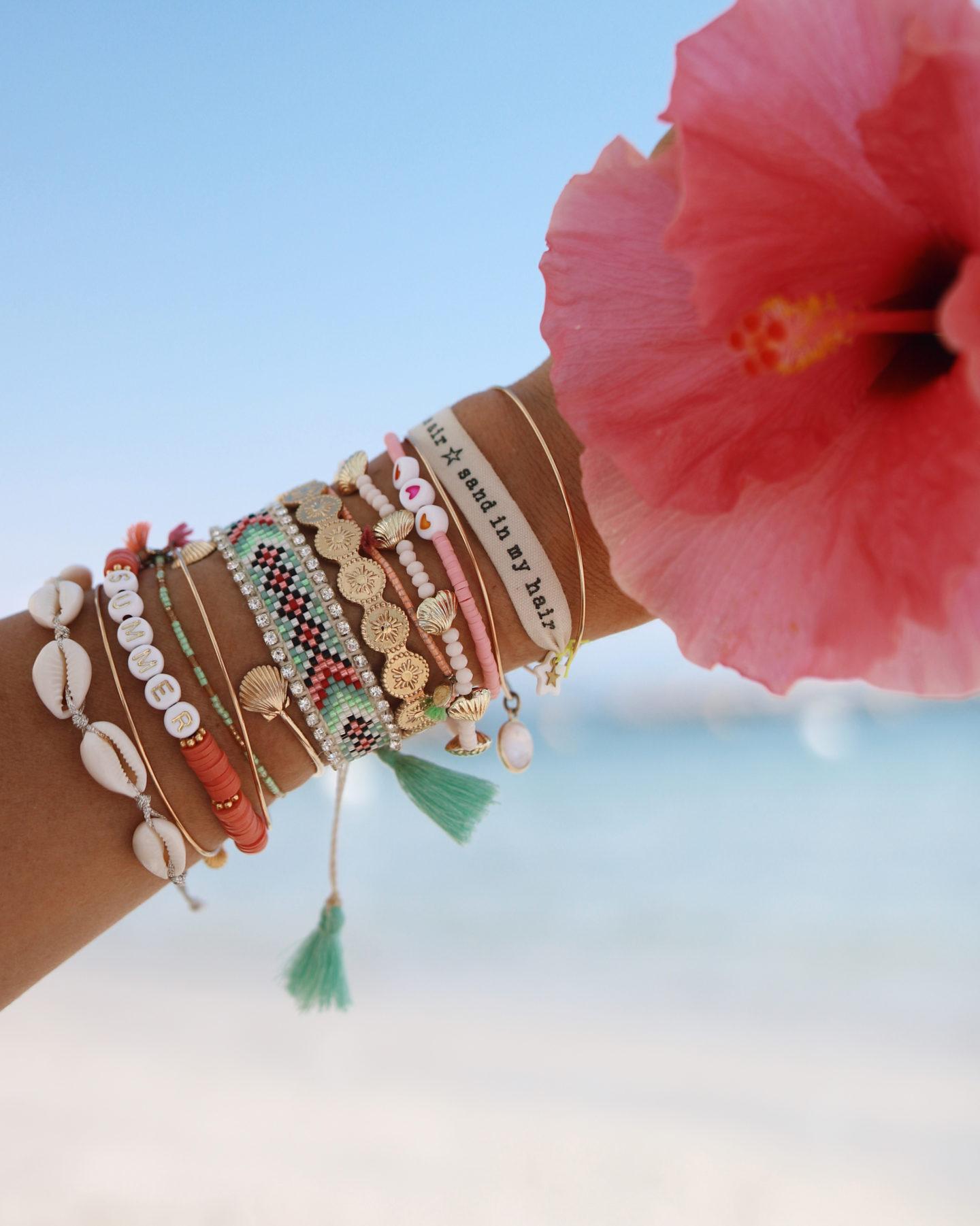 summer jewelry, summer wrist, bracelets d'été
