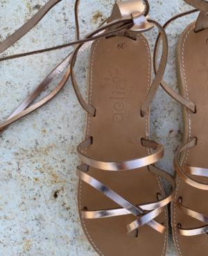 Pink Gold Ankle Wrap Up Sandales pour femmes en cuir. Sandales Boho Gladietor ,Sandales Boho Chic . cuir bronze Aelia Greek Sandals