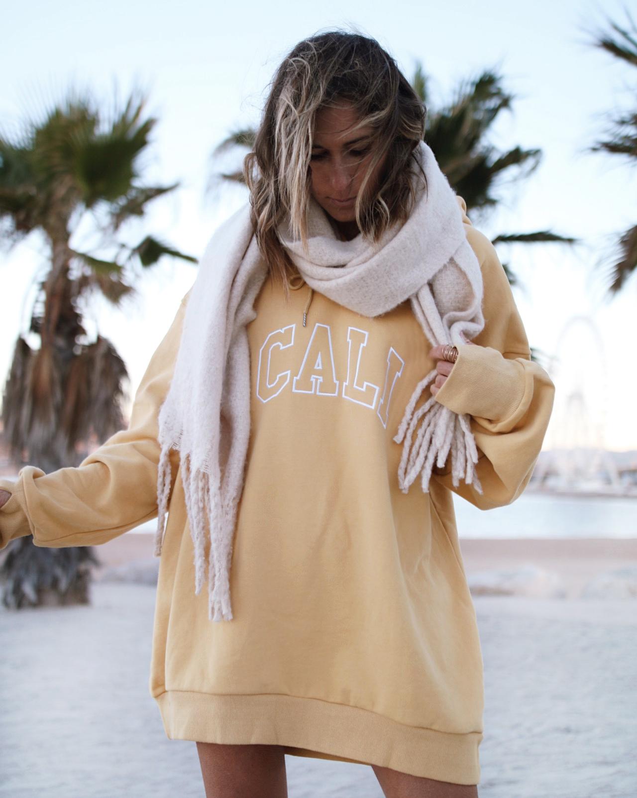 @chon.and.chon cali sweatshirt, sweat dress, yellow sweat