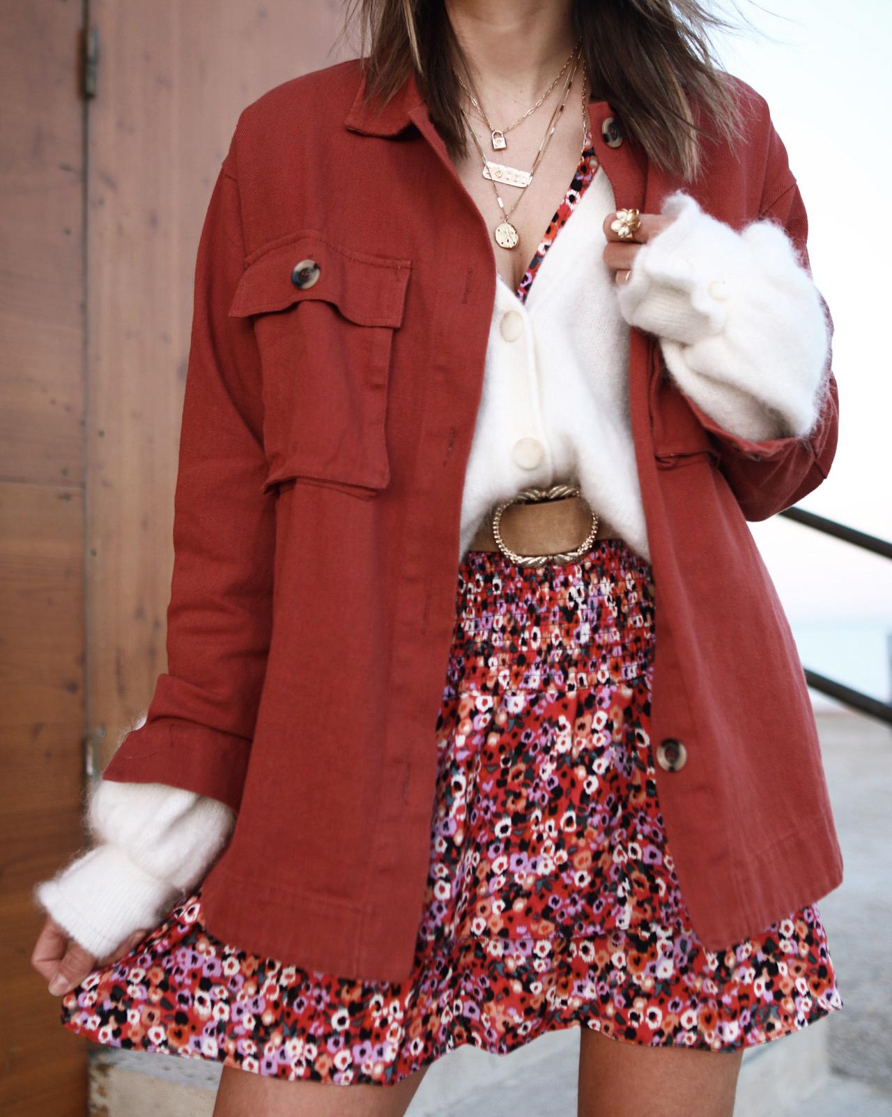ceinture sézane, mini robe fleurs, look printanier www.chonandchon.com