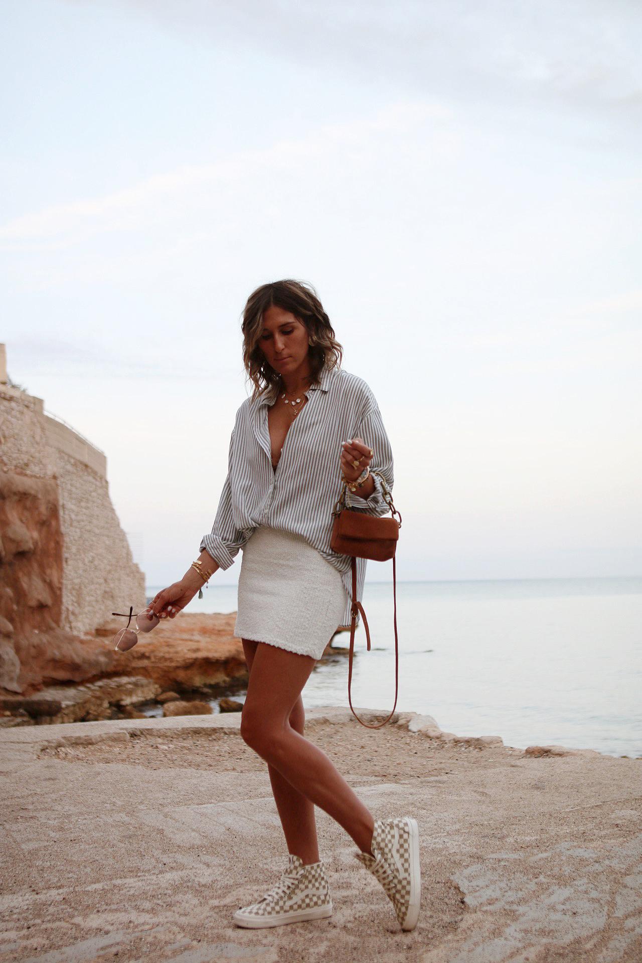 WWW.CHONANDCHON.COM mini jupe tweed blanc mago