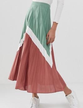 ASOS DESIGN – Jupe color block mi-longue à plis