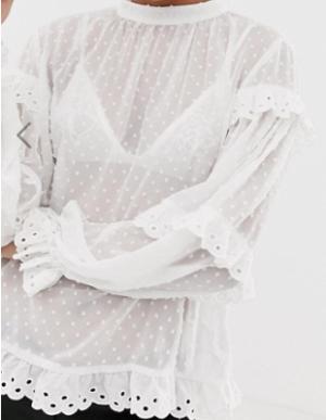 Vila – Blouse à pois en tissu façonné à bordure festonnée