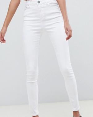 ASOS DESIGN – Ridley – Jean skinny taille haute – Blanc nuage